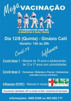 Mega Vacinação contra Covid19 e contra Gripe